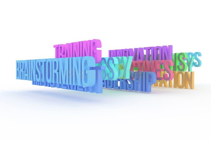 Trenujący & brainstorming, biznesowi konceptualni kolorowi 3D słowa Tło, tapeta, pozytyw & podpis, ilustracja wektor