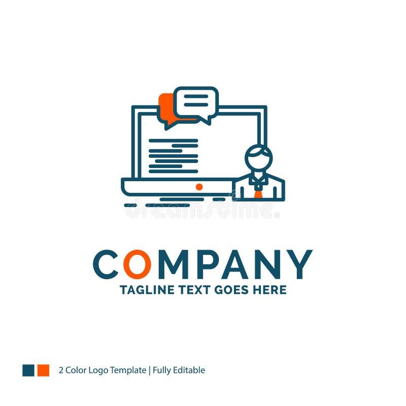 Trenujący, kurs komputerowy, online, gawędzi logo projekt Błękit i O ilustracja wektor