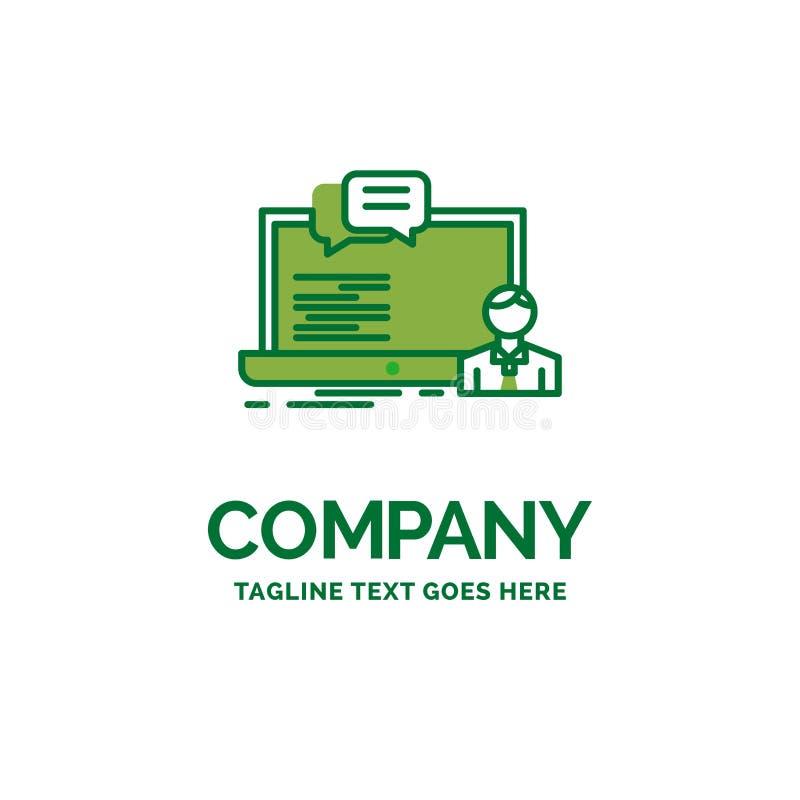 Trenujący, kurs komputerowy, online, gawędzi Płaskie Biznesowe logo zastępcy ilustracja wektor