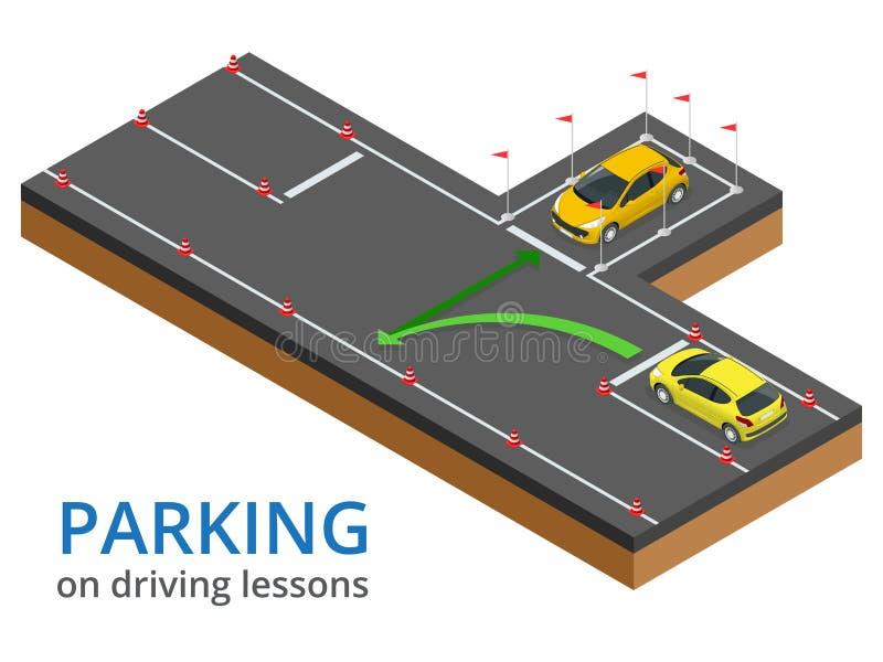 Trenujący w napędowej szkoły pojęcia parking na napędowych lekcjach i test przejażdżce royalty ilustracja