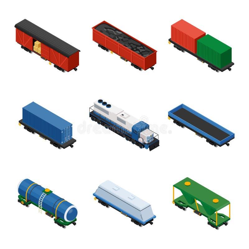 Trenuje isometric set pociągów towarowych składać się z lokomotywy ilustracja wektor