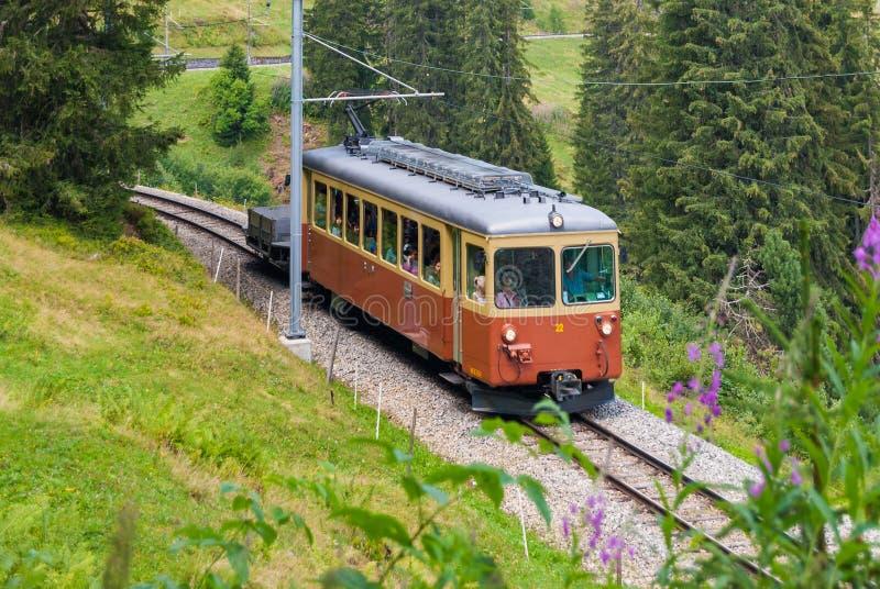 Trenuje od jeden samochodu w Szwajcarskich Alps obraz royalty free
