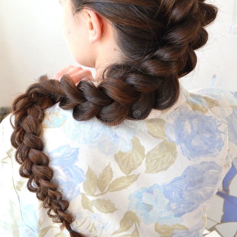 Trenza francesa a cielo abierto, peinado con la longitud larga del pelo fotos de archivo