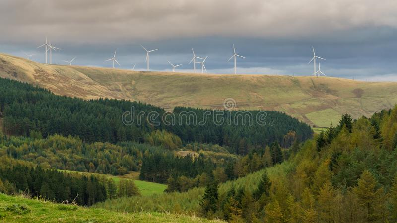 A4061 between Treorchy and Nant-y-Moel, Bridgend, Mid Glamorgan, Wales, UK. Wind turbines, seen from the A4107 near Blaengarw in Bridgend, Mid Glamorgan, Wales stock images