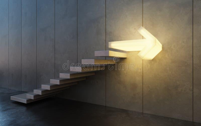 Treppe, die aufwärts, Wiedergabe 3d geht stock abbildung