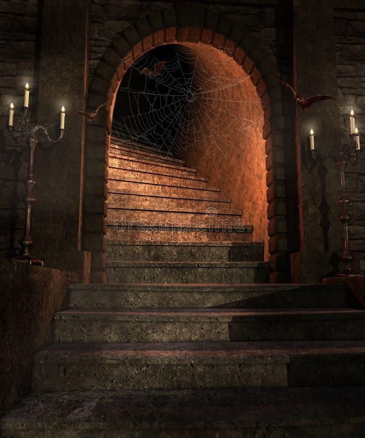 Treppe in einem Kerker stock abbildung