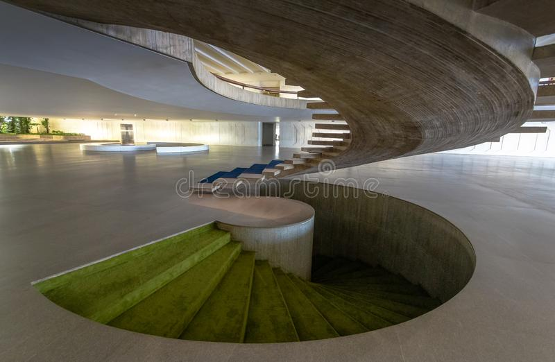 Treppe am Eingang Hall des Itamaraty-Palastinnenraums - Brasilien, Distrito föderativ, Brasilien stockbild