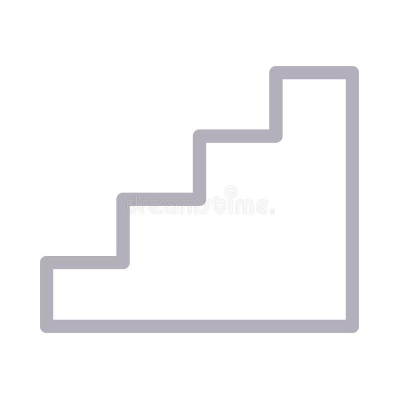 Treppe herauf dünne Farblinievektorikone lizenzfreie abbildung