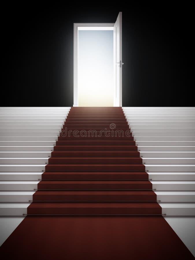 Treppe mit belichteter Tür stock abbildung