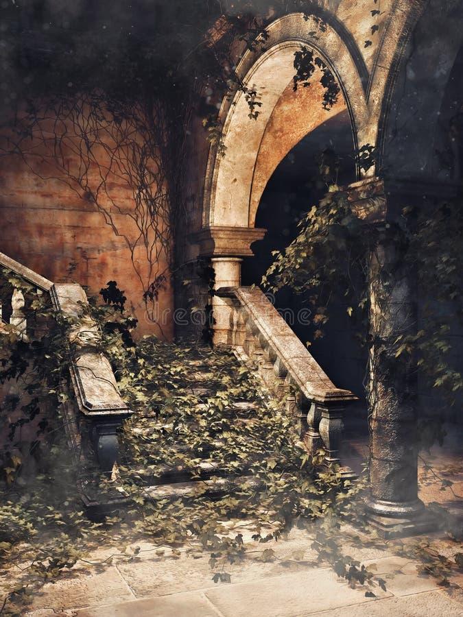 Treppe mit Efeu lizenzfreie abbildung