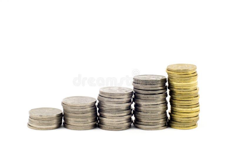 Treppe von Münzen stockbilder