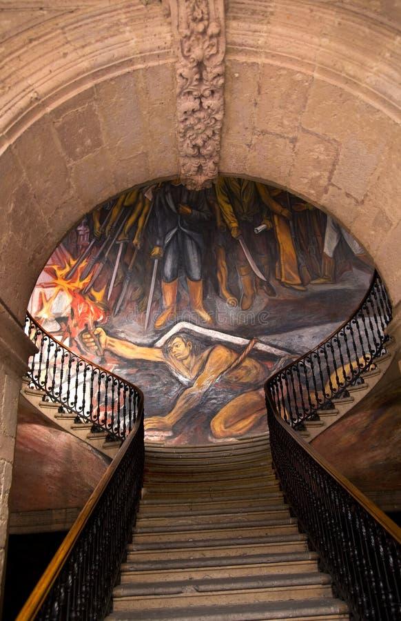 Treppe-Wandregierungs-Palast Morelia Mexiko lizenzfreie stockbilder