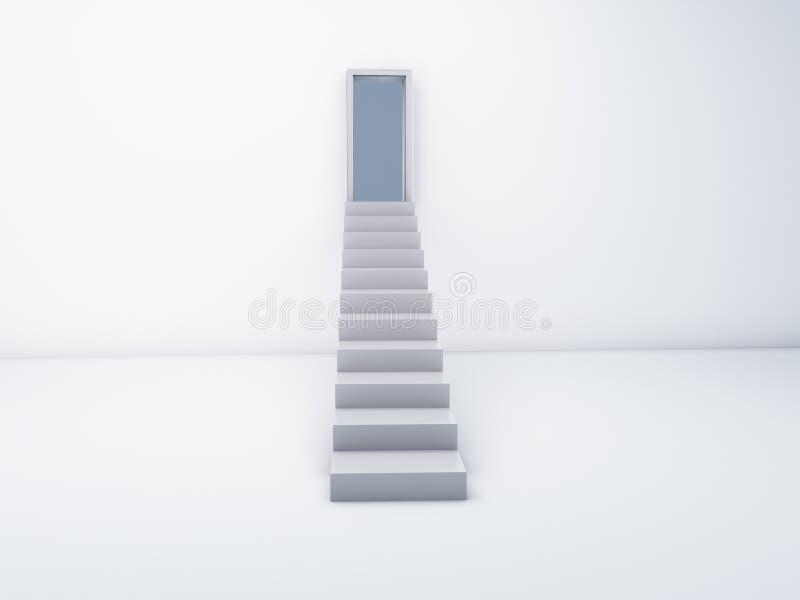 Treppe zur offenen Tür Unterschiedliche Kugel 3d lizenzfreie abbildung