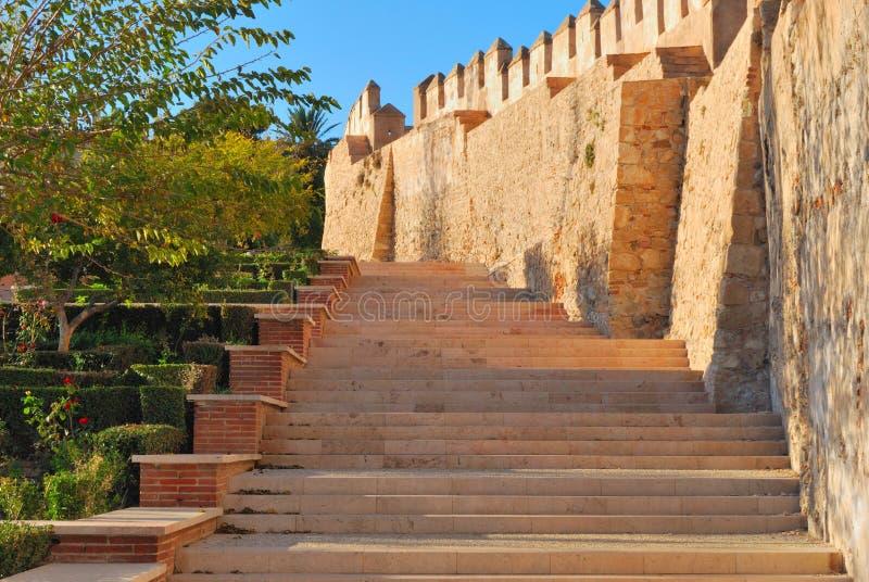Treppen Alcazaba stockfotografie