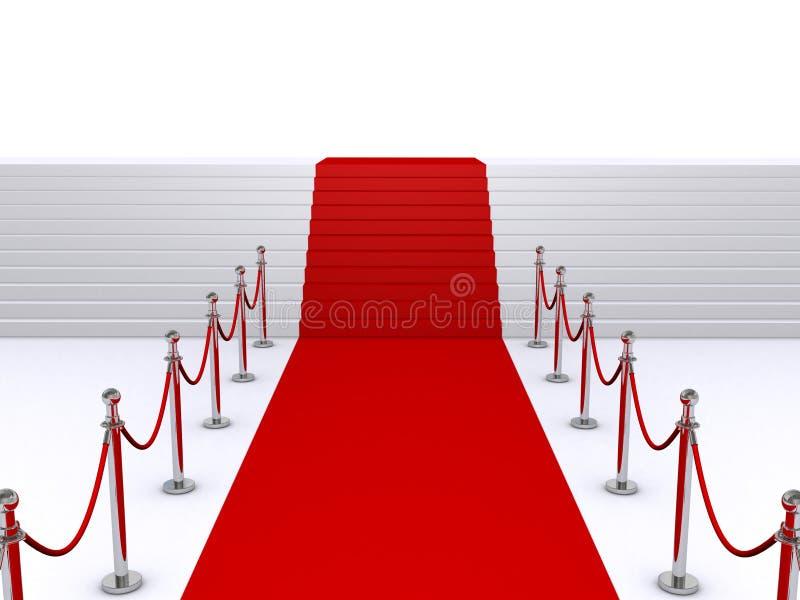 Treppen und roter Teppich stock abbildung