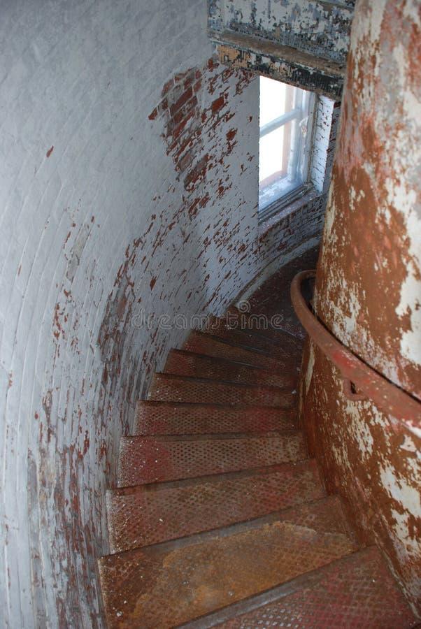 Treppenhaus in den Wellenbrechern Leuchtturm, Lewes, Delaware stockfoto