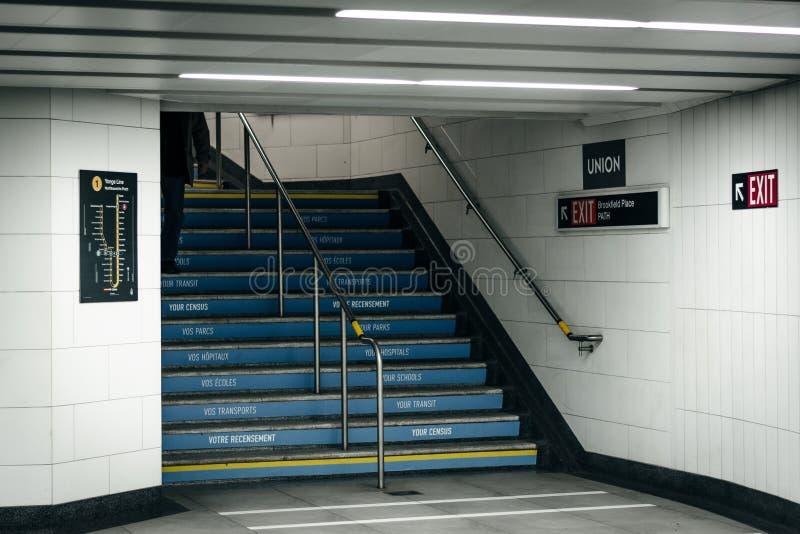 Treppenhaus in der Verbands-Station, in Toronto, Ontario lizenzfreies stockbild