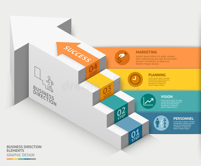 Treppenhaus-Diagrammschablone des Geschäfts 3d Auch im corel abgehobenen Betrag vektor abbildung