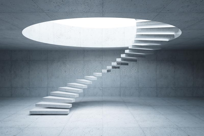 Treppenhaus im konkreten Innenraum, Wiedergabe 3d vektor abbildung