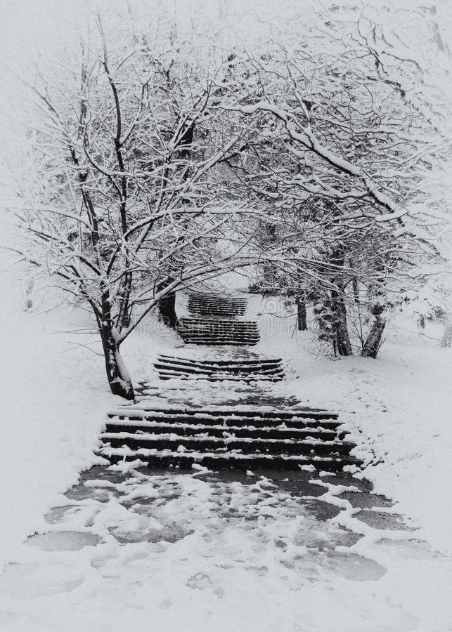 Treppenhaus im Winter stockfoto