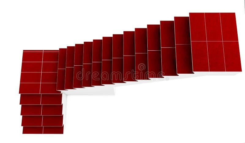 Treppenhaus mit dem roten Teppich lokalisiert auf weißem Hintergrund rende 3D lizenzfreie abbildung
