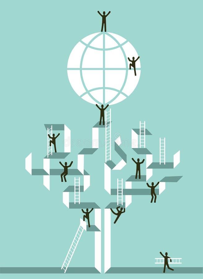 Treppenhaus zum globalen Erfolg des Geschäfts vektor abbildung