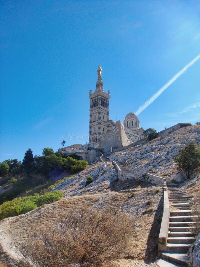 Treppenhaus zur Basilika von Notre Dame de la Guarde, Marseille stockbilder