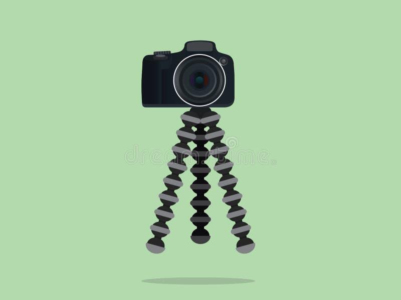 Treppiede del dslr dello slr della macchina fotografica con stile della gorilla royalty illustrazione gratis