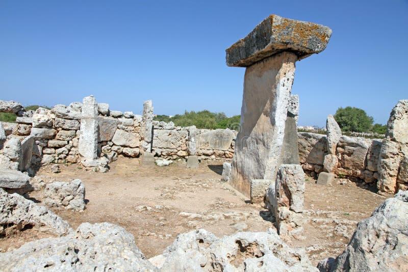 Trepuco的史前解决, ES卡斯特尔,梅诺卡岛,拜雷阿尔斯 免版税库存图片