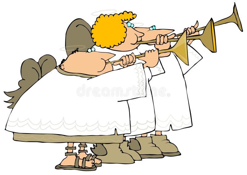 Tres ángeles que tocan las trompetas ilustración del vector