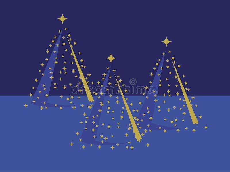 Tres árboles de navidad del oro en azul stock de ilustración