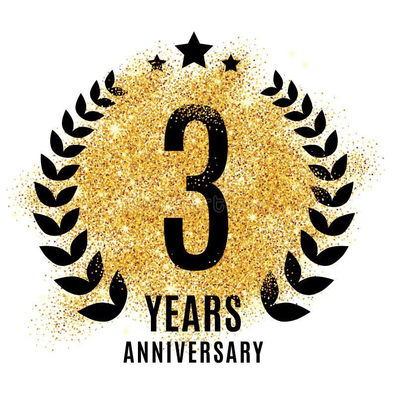 Tres años de símbolo del aniversario libre illustration