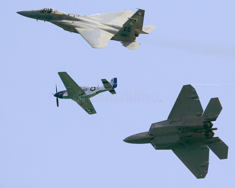 Tres aeroplanos militares fotos de archivo libres de regalías
