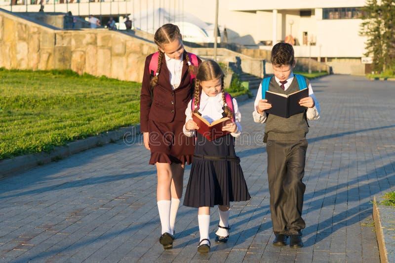 Tres alumnos en uniforme escolar que caminan a lo largo del camino en el parque y que leen un libro fotos de archivo libres de regalías