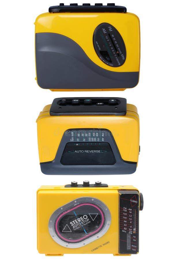 Tres amarillos y magnetofones negros fotografía de archivo libre de regalías