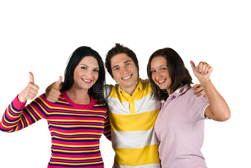 Tres Amigos Felices Con Thumbs-up Fotografía de archivo libre de regalías