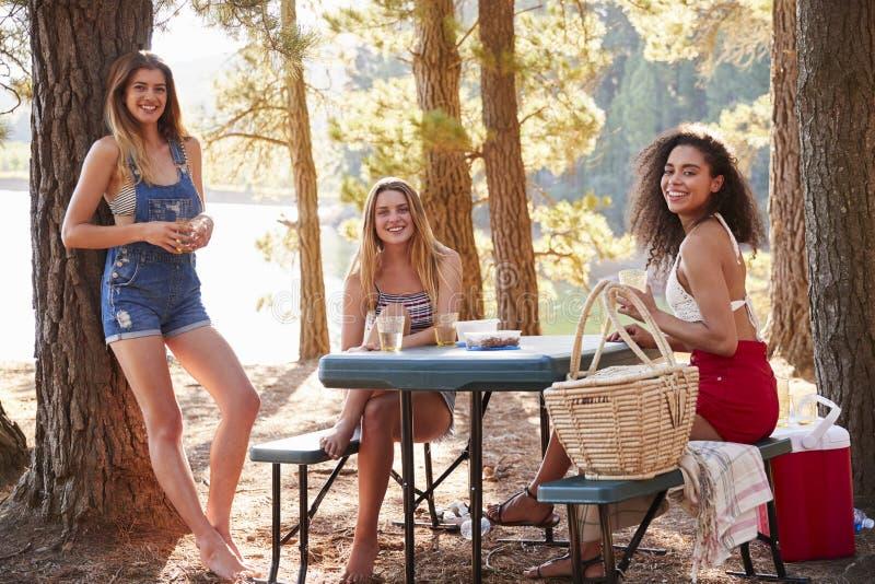 Tres amigos femeninos que cuelgan hacia fuera por un lago que sonríe a la cámara foto de archivo libre de regalías