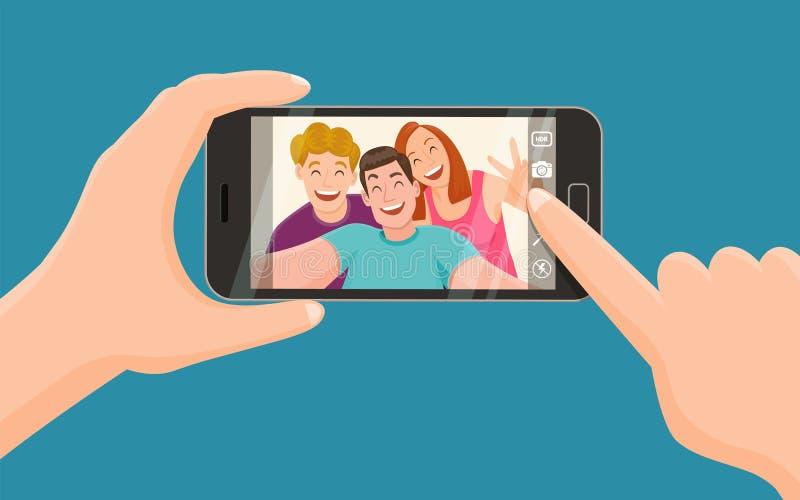 Tres amigos que toman un selfie stock de ilustración