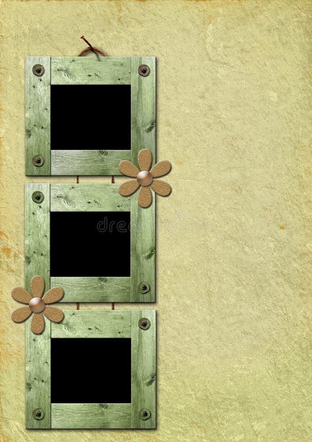 Tres armazones de madera para la foto stock de ilustración