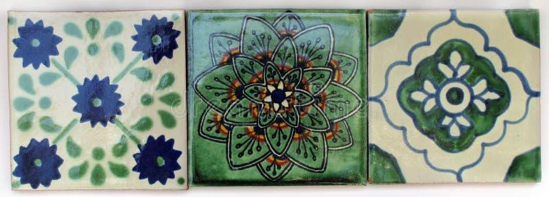 Tres azulejos mexicanos cuadrados fotografía de archivo libre de regalías