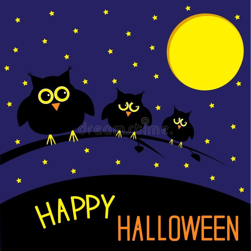 Tres búhos lindos. Noche estrellada y luna. Pasillo feliz ilustración del vector