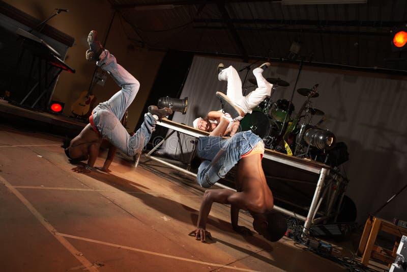 Tres bailarines de hip-hop fotografía de archivo libre de regalías