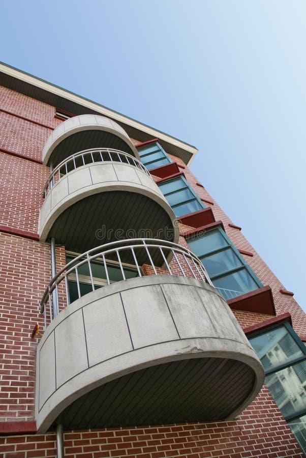Tres balcones concretos imagenes de archivo