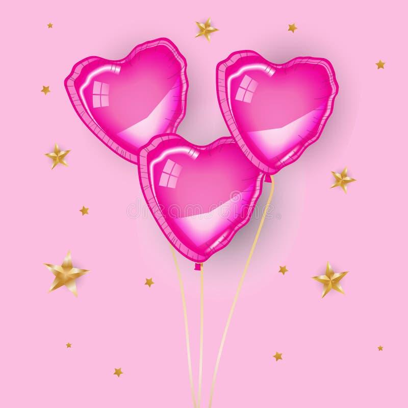 Tres baloons rosados del corazón imagenes de archivo