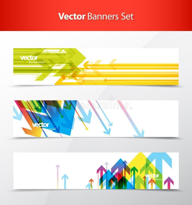Tres banderas coloridas abstractas del fondo de las flechas ilustración del vector