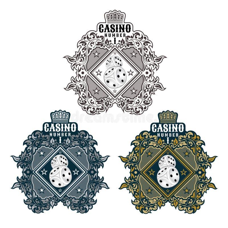 Tres banderas con dos dados en el centro de oro, estampado de flores de plata Logotipo del deporte para cualquier casino o boardg ilustración del vector