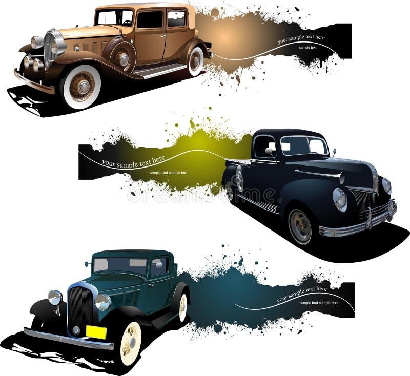 Tres banderas con el coche viejo ilustración del vector