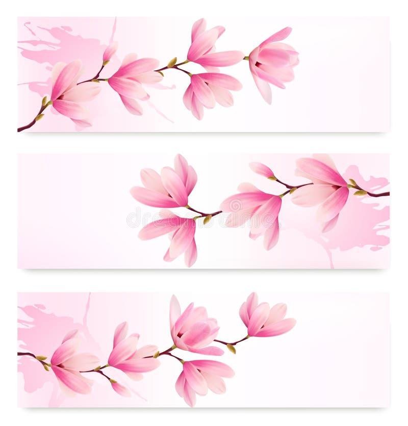 Tres banderas de la primavera con el brunch del flor de flores rosadas libre illustration