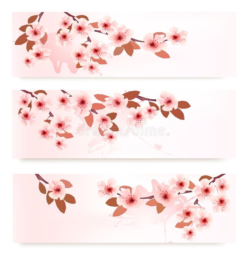 Tres banderas de la primavera con las ramas florecientes con ilustración del vector