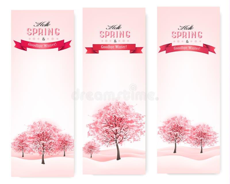 Tres banderas de la primavera con los árboles florecientes de Sakura. libre illustration